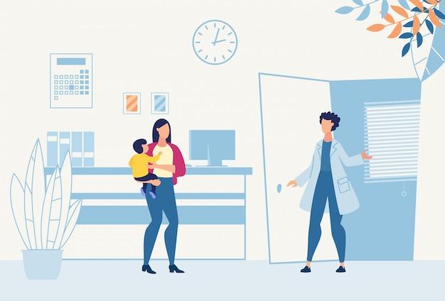 Mutter mit sohn besuchen kinderarzt zur beratung Premium Vektoren