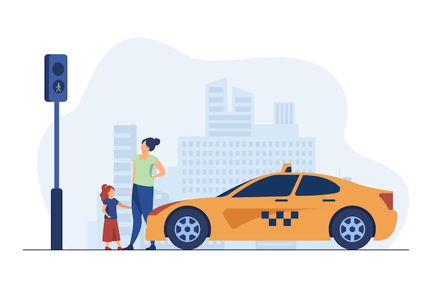 Mutter mit tochter wartet auf taxi. kind, auto, verkehr flache vektorillustration. transport und urbaner lebensstil Kostenlosen Vektoren