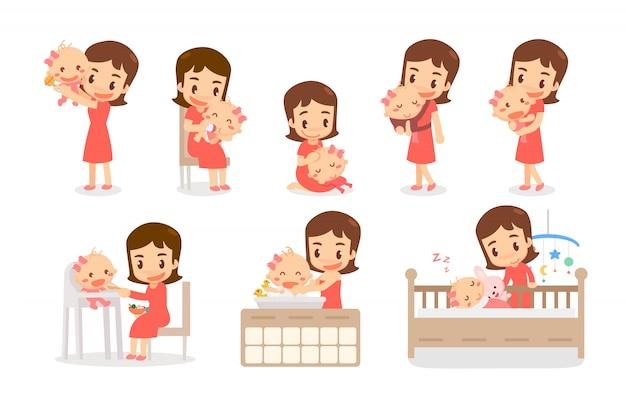 Mutter und baby. mama und baby in verschiedenen aktionen. liebenswerte familie. Premium Vektoren