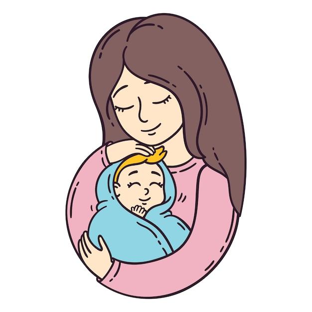 Mutter und ihr baby. Premium Vektoren