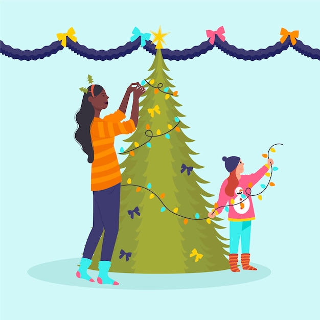 Mutter und kind, die weihnachtsbaum verzieren Kostenlosen Vektoren