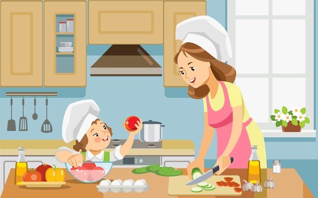 Mutter- und kindermädchen, das zu hause gesundes lebensmittel zusammen zubereitet. Premium Vektoren