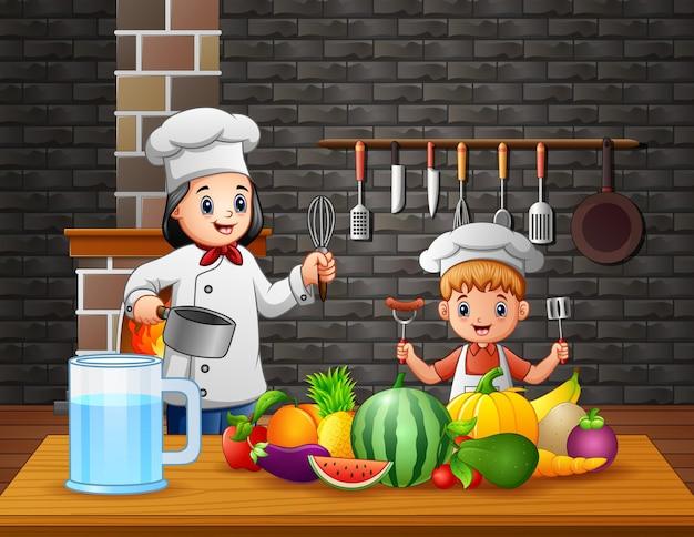 Mutter und sohn bereiten essen in der küche zu Premium Vektoren