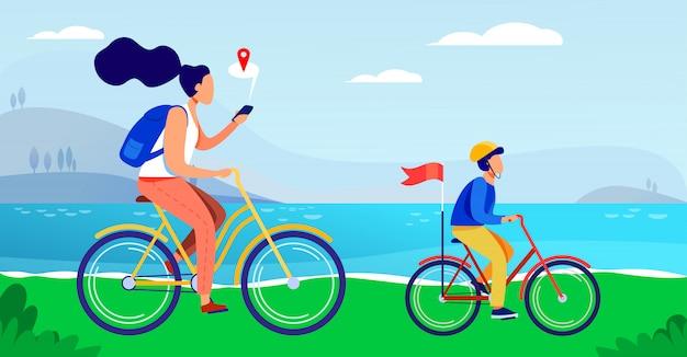 Mutter und sohn fahren fahrrad entlang der küste Kostenlosen Vektoren