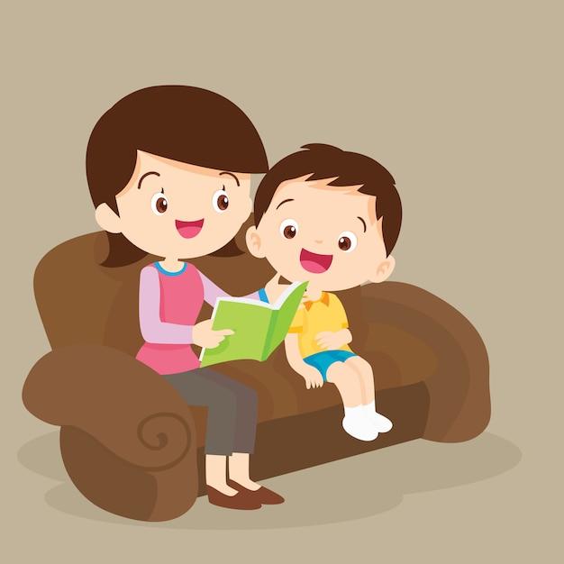 Mutter und sohn zusammen lesen Premium Vektoren
