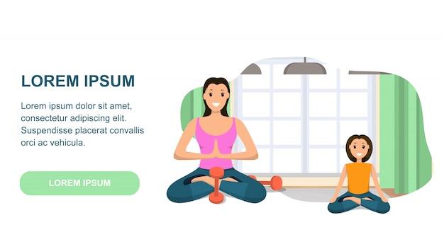 Mutter und tochter beteiligt sport im yoga engagiert Premium Vektoren