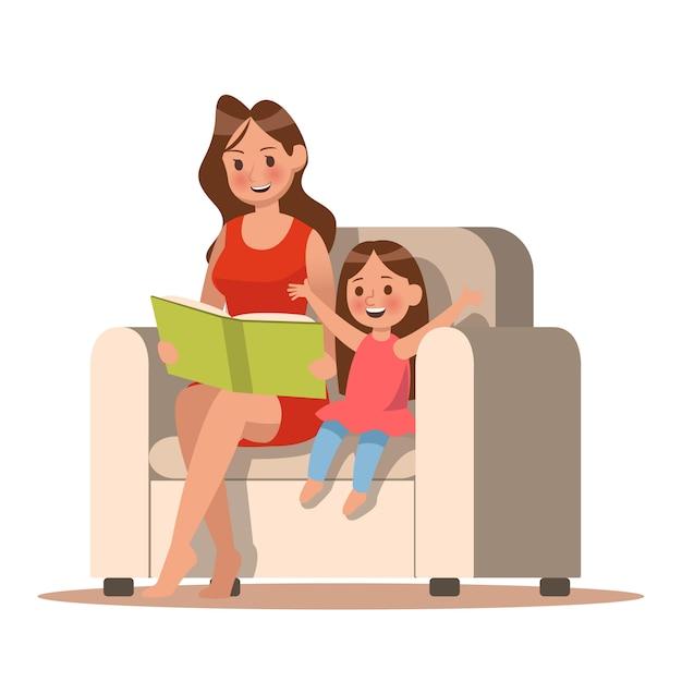 Mutter und tochter, die ein buch lesen Premium Vektoren