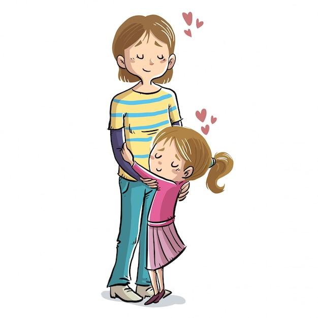 Mutter und tochter, die mit herzen umarmen Premium Vektoren