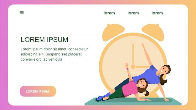 Mutter und tochter engagierten fitness sport training Premium Vektoren