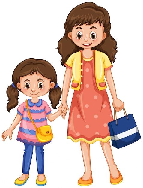 Mutter und tochter händchen haltend Kostenlosen Vektoren