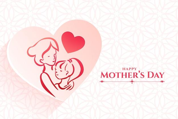 Mutter und tochter lieben beziehungshintergrund für muttertag Kostenlosen Vektoren