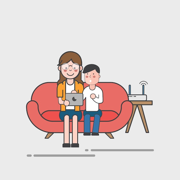 Mutter und tochter mit laptop Kostenlosen Vektoren