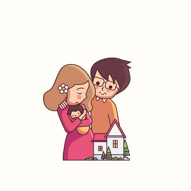 Mutter und vater und kind glückliche familie Premium Vektoren