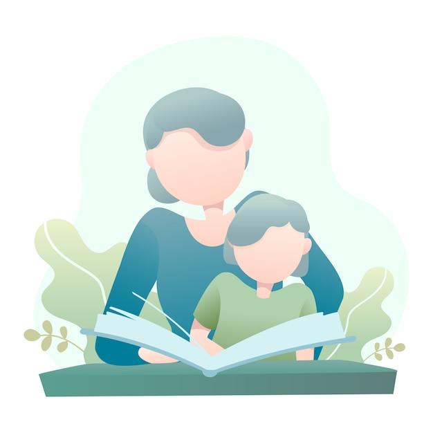 Mutter unterrichtet ihre tochter, die eine buch-illustration liest Premium Vektoren