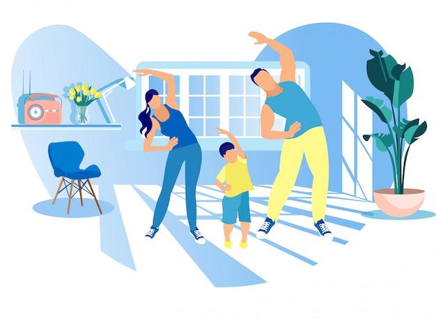 Mutter-, vater- und kindermorgen, der zu hause trainiert Premium Vektoren