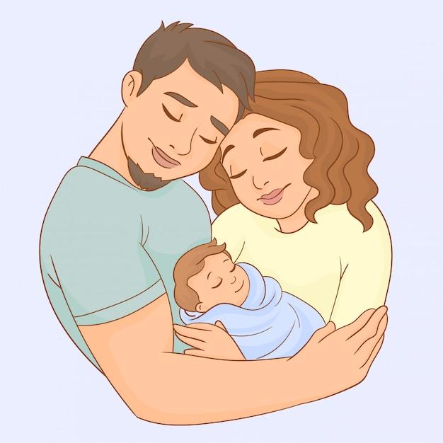 Mutter, vater und neugeborenes Premium Vektoren