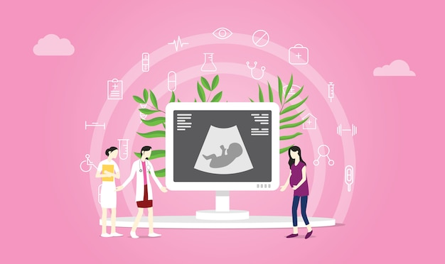 Mutterschafts- oder schwangerschaftskonzept Premium Vektoren