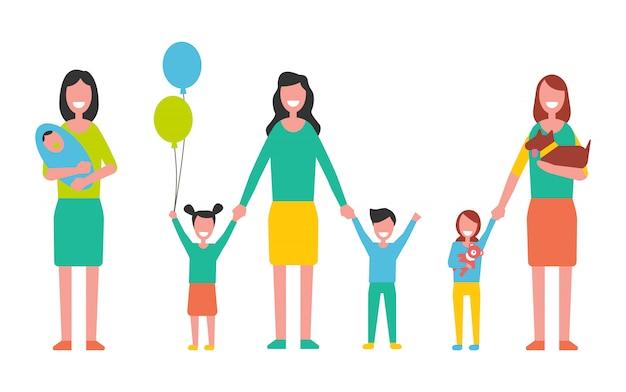 Mutterschafts-vektor-frau, die um kindern sich kümmert Premium Vektoren