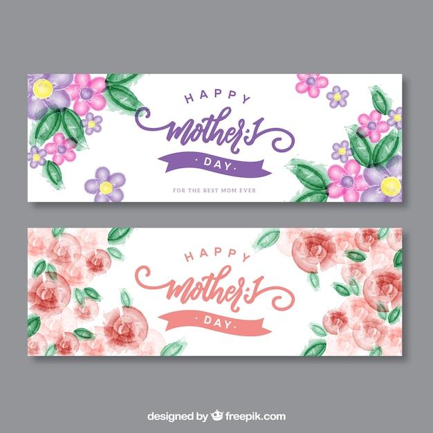 Muttertag Aquarell Blume Banner Kostenlose Vektoren