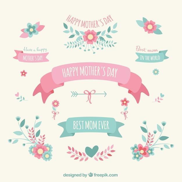 Muttertag Dekorationselemente Kostenlose Vektoren
