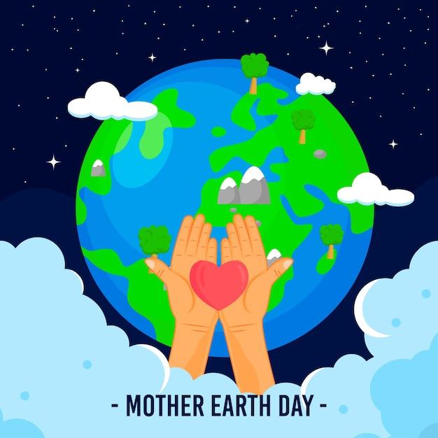 Muttertag der erde mit dem planeten und händen, die herz halten Kostenlosen Vektoren