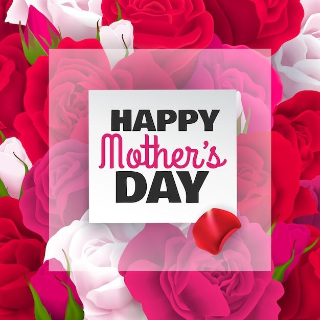 Muttertag färbte karte mit roten weißen rosen und glücklicher muttertagschlagzeilenillustration Kostenlosen Vektoren