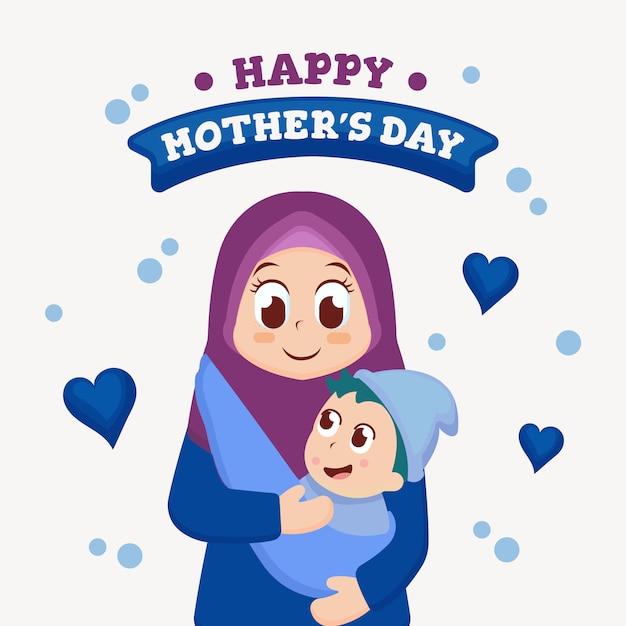 Muttertag-grußkarte mit niedlichen illustration Premium Vektoren