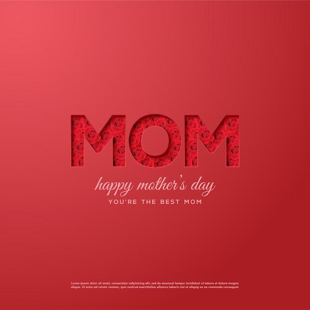 Muttertag hintergrund mit illustrationen von roten rosen in mom schriftlich Premium Vektoren