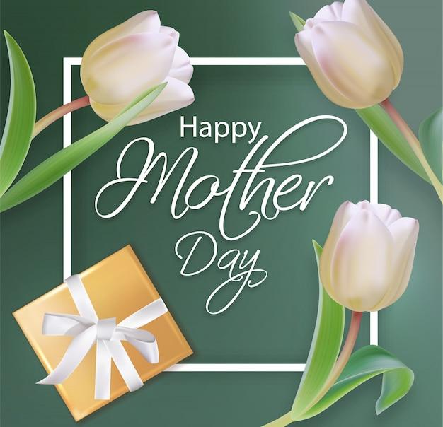 Muttertageskarte mit tulpenblumenstrauß Premium Vektoren