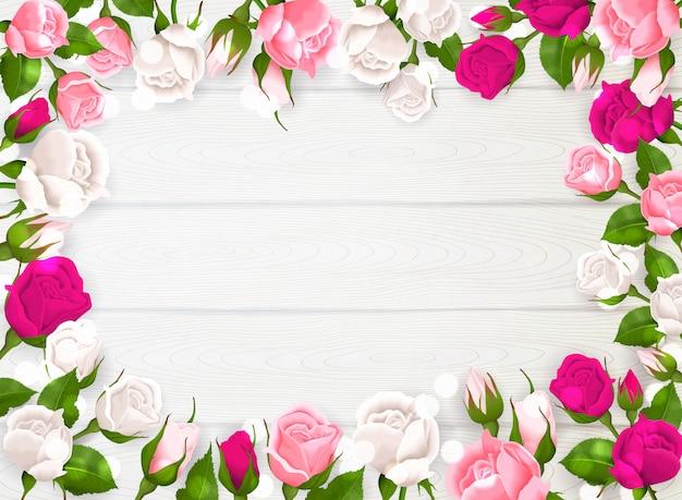 Muttertagesrahmen mit rosa weißen und pinkfarbenen farben von rosen auf weißer hölzerner hintergrundillustration Kostenlosen Vektoren