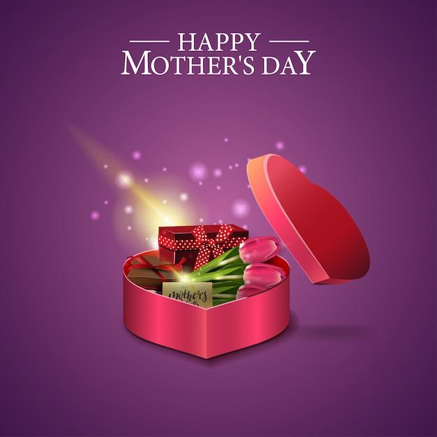 Muttertagskarte mit einer geschenkbox in form eines herzens Premium Vektoren