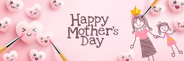 Muttertagsplakat mit niedlichen herzen und cartoon-emoticon-malerei auf rosa hintergrund. förderung und einkaufsschablone oder hintergrund für liebes- und muttertagskonzept Premium Vektoren
