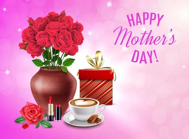 Muttertagszusammensetzung mit geschenkkosmetikblumenstrauß von blumen und glückliche muttertagesschlagzeilenillustration Kostenlosen Vektoren