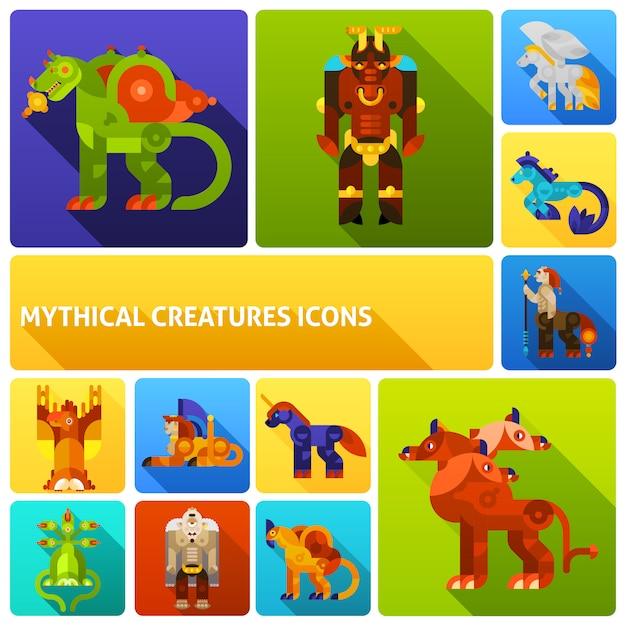 Mythische kreaturen elemente gesetzt Premium Vektoren