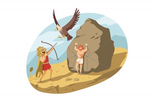 Mythologie, griechenland, olymp, herakles, religionskonzept. Premium Vektoren