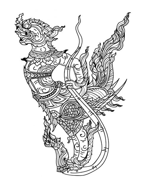 Mythologievogel-literaturhandzeichnungsskizze der tätowierungskunst thailändische Premium Vektoren