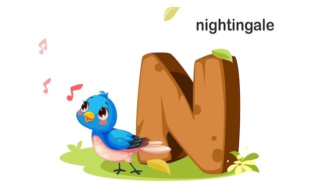 N für nightingale Premium Vektoren