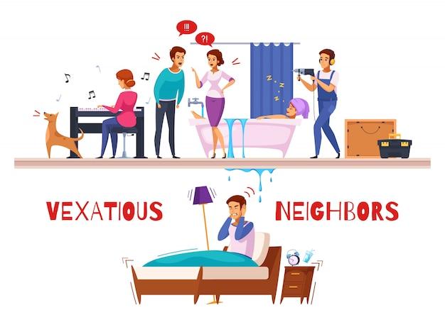 Nachbarn beziehungen cartoon zusammensetzung Kostenlosen Vektoren