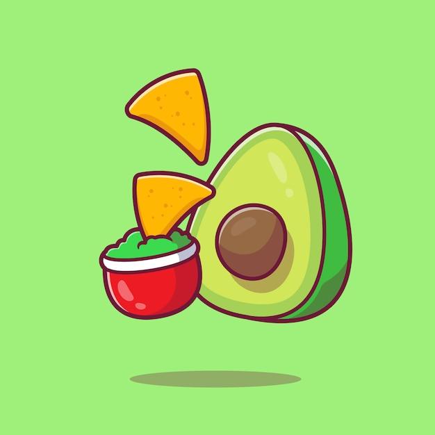 Nachos mit avocadosauce cartoon icon illustration. mexiko-nahrungsmittel-symbol-konzept isoliert. flacher cartoon-stil Premium Vektoren