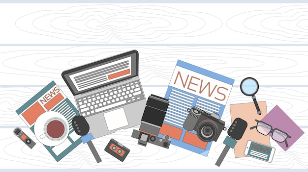Nachrichten-editor desk-arbeitsbereich Premium Vektoren