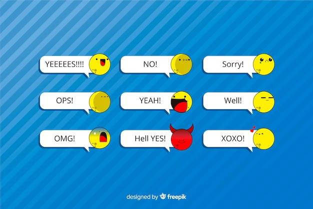 Nachrichten mit emojis auf blauem hintergrund Kostenlosen Vektoren