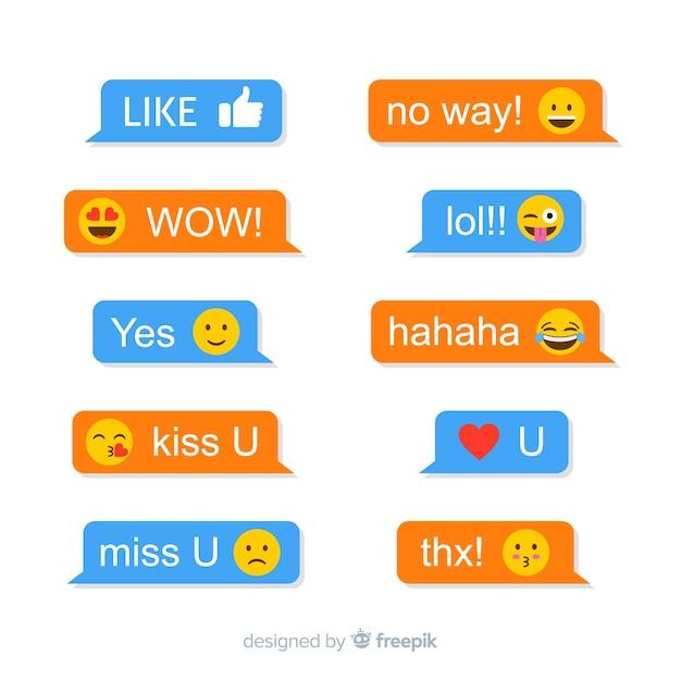Nachrichten mit emojis-reaktionen Kostenlosen Vektoren