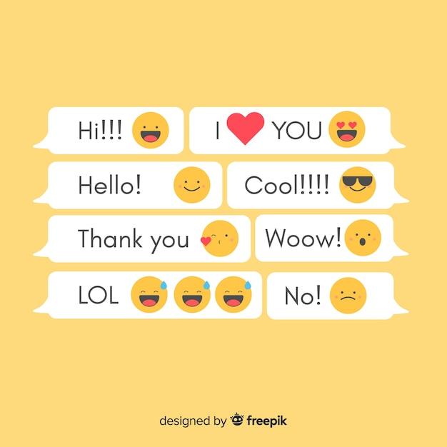 Nachrichten mit emojis Kostenlosen Vektoren