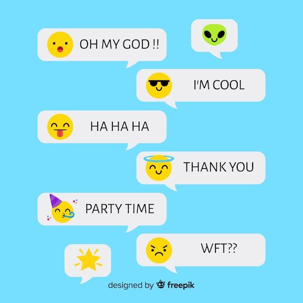 Nachrichten mit niedlichen emojis Kostenlosen Vektoren