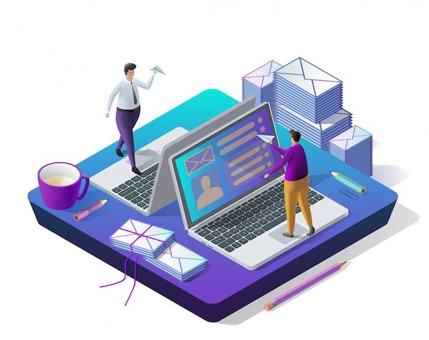 Nachrichten senden. e-mail-posteingang, elektronisch Premium Vektoren