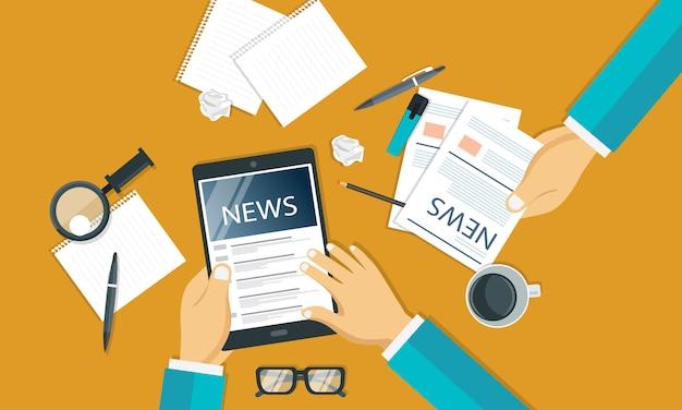 Nachrichten- und journalismuskonzept Premium Vektoren