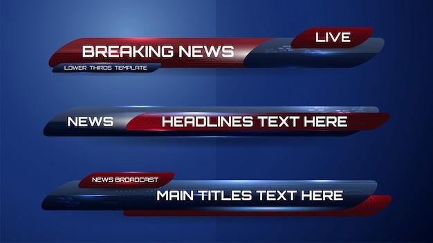 Nachrichtenbanner für tv-sender Premium Vektoren