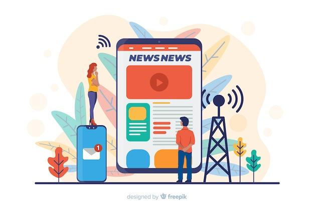 Nachrichtenkonzept für zielseite Premium Vektoren