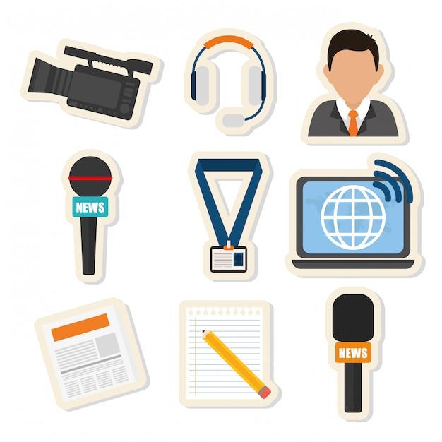 Nachrichtenmedien und rundfunk Premium Vektoren