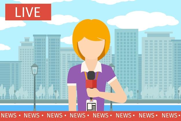 Nachrichtenreporterin. journalistenmedien, fernsehen und mikrofon, fernsehsendung, professionelle kommunikationsvektorillustration Kostenlosen Vektoren